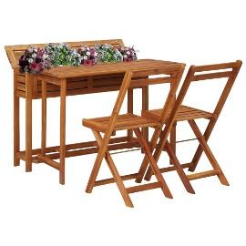 vidaXL Balkonowy stół z donicą i 2 krzesłami bistro, drewno akacjowe 45910