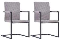 vidaXL Krzesła stołowe, 2 szt., wspornikowe, jasnoszare, ekoskóra281680