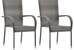 vidaXL Sztaplowane krzesła ogrodowe, 2 szt., szare, polirattan 46464