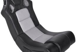vidaXL Bujany fotel muzyczny, czarno-szary, sztuczna skóra241960