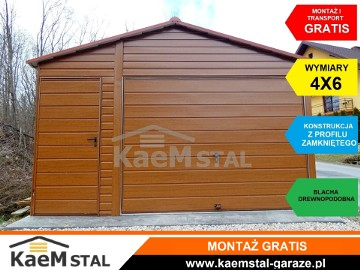 Solidny garaż blaszany 4x5 GARAŻE blaszane blaszaki drewnopodobne KaeM stal