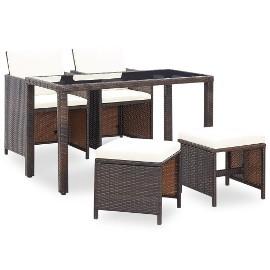 vidaXL 5-cz. zestaw mebli ogrodowych z poduszkami, rattan PE, brązowy46602