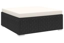 vidaXL Podnóżek modułowy z poduszką, 1 szt., polirattan, czarny 46802