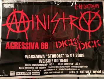 Ministry - plakat reklamujący koncert w 2008 roku