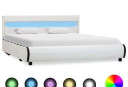 vidaXL Rama łóżka z LED, biała, sztuczna skóra, 160 x 200 cm 284970