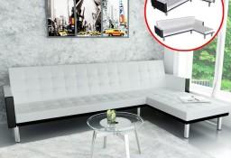 vidaXL Sofa narożna z funkcją rozkładania, sztuczna skóra, biała 244329