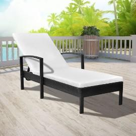 vidaXL Leżak ogrodowy z poduszką, polirattan, czarny 42942