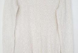 Sweter biały perłowa nitka L 40 XL 42 dekolt kwadratowy retro vintage