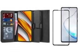Etui Wallet 2 + Szkło Pełne Full Glue do Xiaomi Poco F3