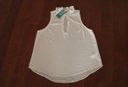 Letnia, biała bluzka, koszula, luźny krój bez rękawów, rozm. 44/ XL