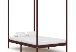 vidaXL Rama łóżka z baldachimem, ciemnobrązowa, lita sosna, 120x200 cm 283270