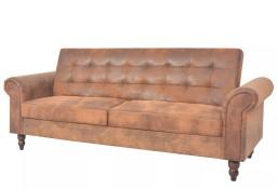 vidaXL Rozkładana sofa z podłokietnikami, sztuczny zamsz, brązowa245584