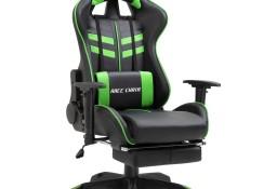 vidaXL Fotel dla gracza z podnóżkiem, zielony, sztuczna skóra20203