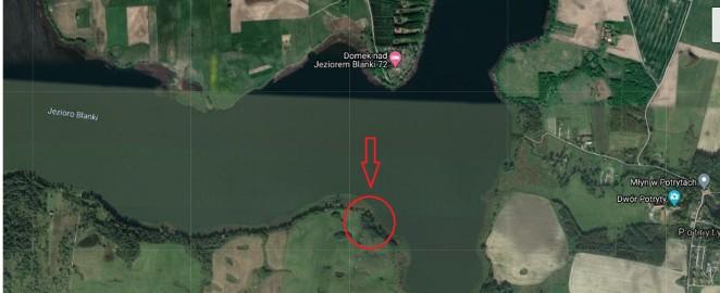 Przepiękna działka budowlana 1,5 ha z linią brzegową jezioro Blanki Jeziorany Radostowo  na pensjonat lub dwie rezydencje plus pomost