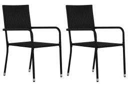 vidaXL Krzesła ogrodowe, 2 szt., polirattan, czarne 43929