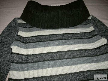 Szary Ciepły Sweter z Golfem Szerszym J Nowy 36