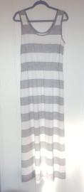 Długa sukienka maxi Esmara L 40 biała szara pasy paski biało-szara