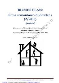 BIZNESPLAN firma remontowo-budowlana (przykład) 2017