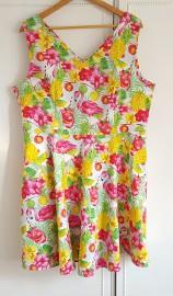 Nowa sukienka letnia 4XL 48 ananas flaming retro pin up bawełna vintag