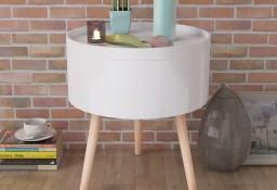 vidaXL Okrągły stolik z tacą 39,5 x 44,5 cm biały 243402