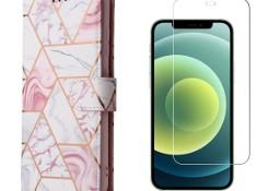 Etui z Klapką Wallet Marble + Szkło Płaskie do iPhone 12 , 12 Pro