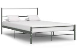 vidaXL Rama łóżka, szara, metalowa, 140 x 200 cm 286494