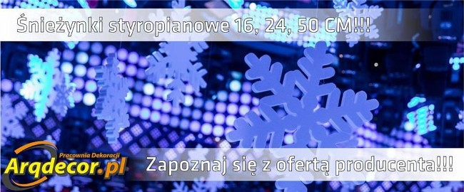 Śnieżynki, gwiazdki, ozdoby styropianowe - dekoracje świąteczne