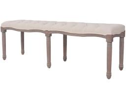 vidaXL Ławka do przedpokoju, len i lite drewno, 150x40x48 cm, kremowa245361