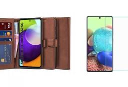 Etui Wallet 2 + Szkło do Samsung Galaxy A52 4G / 5G Brązowy