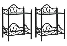 vidaXL Stoliki nocne, 2 szt., stal i hartowane szkło, 45x30,5x60 cm 246727