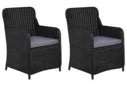 vidaXL Krzesła ogrodowe z poduszkami, 2 szt., polirattan, czarne 44146