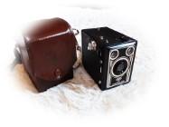 Stary aparat Agfa Synchro Box + oryg. futerał Piękny zabytek