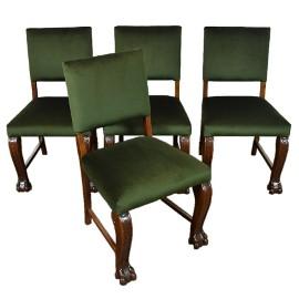Komplet 4 sztuk krzeseł, krzesła neorenesans na lwich łapach stare