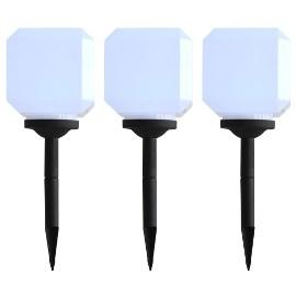 vidaXL Sześcienne lampy solarne na zewnątrz, 3 szt., LED, 20 cm, białe 44462