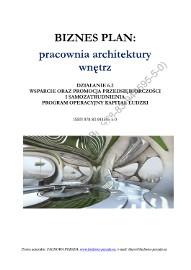 BIZNESPLAN na założenie pracowni architektury wnętrz 2011