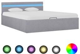 vidaXL Rama łóżka, podnośnik i LED, jasnoszara, tkanina, 120 x 200 cm285608