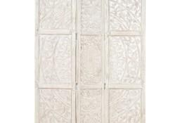 vidaXL Parawan 3-panelowy, rzeźbiony, biały, 120x165 cm, drewno mango 285336