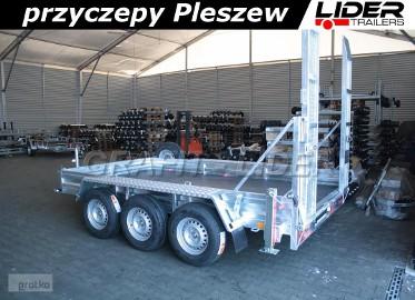 LT-027 przyczepa 350x190x23cm, do przewozu koparki, minikoparki, sprzętu budowlanego, 3x oś 1800kg, DMC 3500kg
