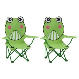 vidaXL Krzesełka ogrodowe dla dzieci, 2 szt., zielone, tkanina 48106