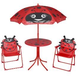 vidaXL 3-cz. dziecięcy zestaw mebli do ogrodu, z parasolem, czerwony 41842