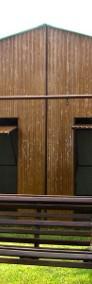 Garaż blaszany dwuspadowy 7x6 podwyższony kolor złoty dąb-4