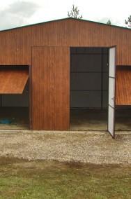 Garaż blaszany dwuspadowy 7x6 podwyższony kolor złoty dąb-2