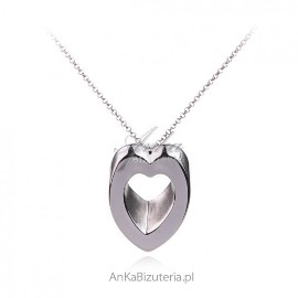 Naszyjnik srebrny duże serce 3D