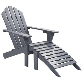 vidaXL Fotel ogrodowy z podnóżkiem, drewniany, szary 45700