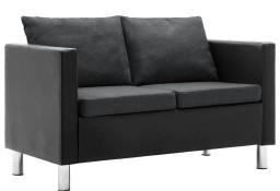 vidaXL Sofa 2-osobowa obita sztuczną skórą, czarno-ciemnoszara247168
