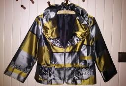 Żakiet w kratkę, rozmiar 40, kolor szaro-złoty, Brandtex