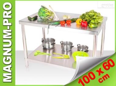 Stalowy stół roboczy, blat gastronomiczny 100x60x85-1