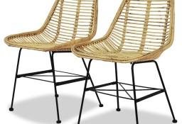 vidaXL Krzesła do jadalni, 2 szt., naturalny rattan244569