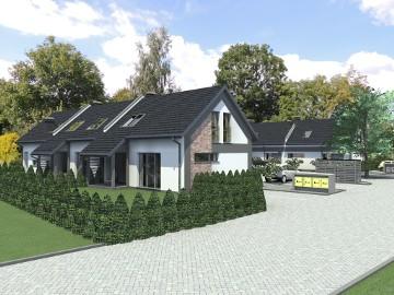 dom w zabudowie szeregowej powierzchni  88 / 77,7 m2 z miejscami parkingowymi