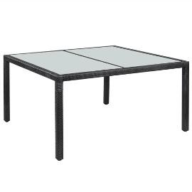 vidaXL Stół ogrodowy, czarny, 150x90x75 cm, rattan PE 42563